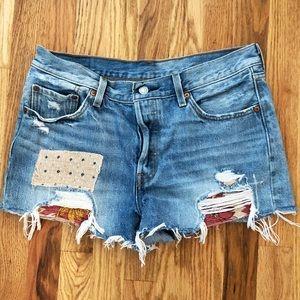 Levi's 501 High Waist Vintage Shorts 29 Patched